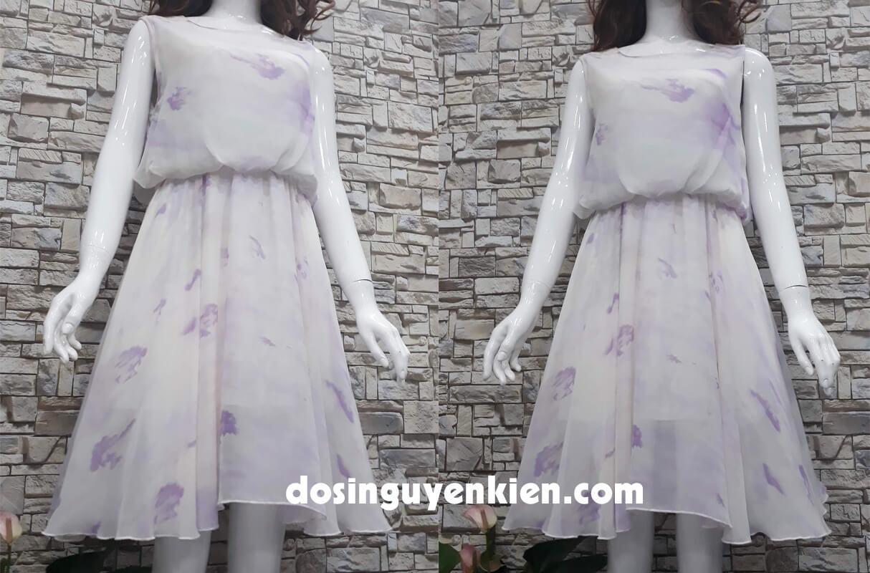 Đầm ngắn họa tiết bông trắng