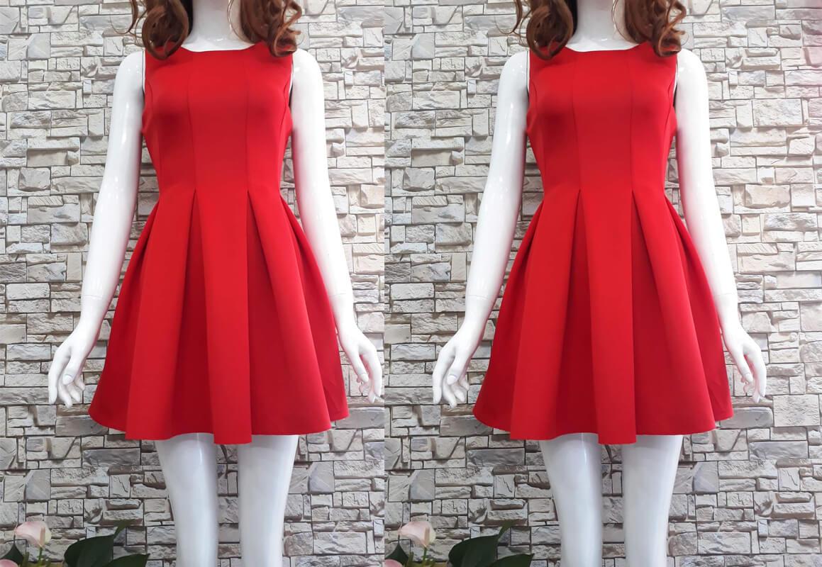 Đầm đỏ xòe ngắn
