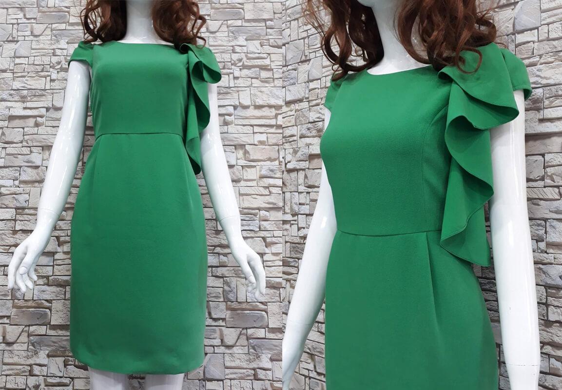 Đầm trơn xanh lá cách điệu
