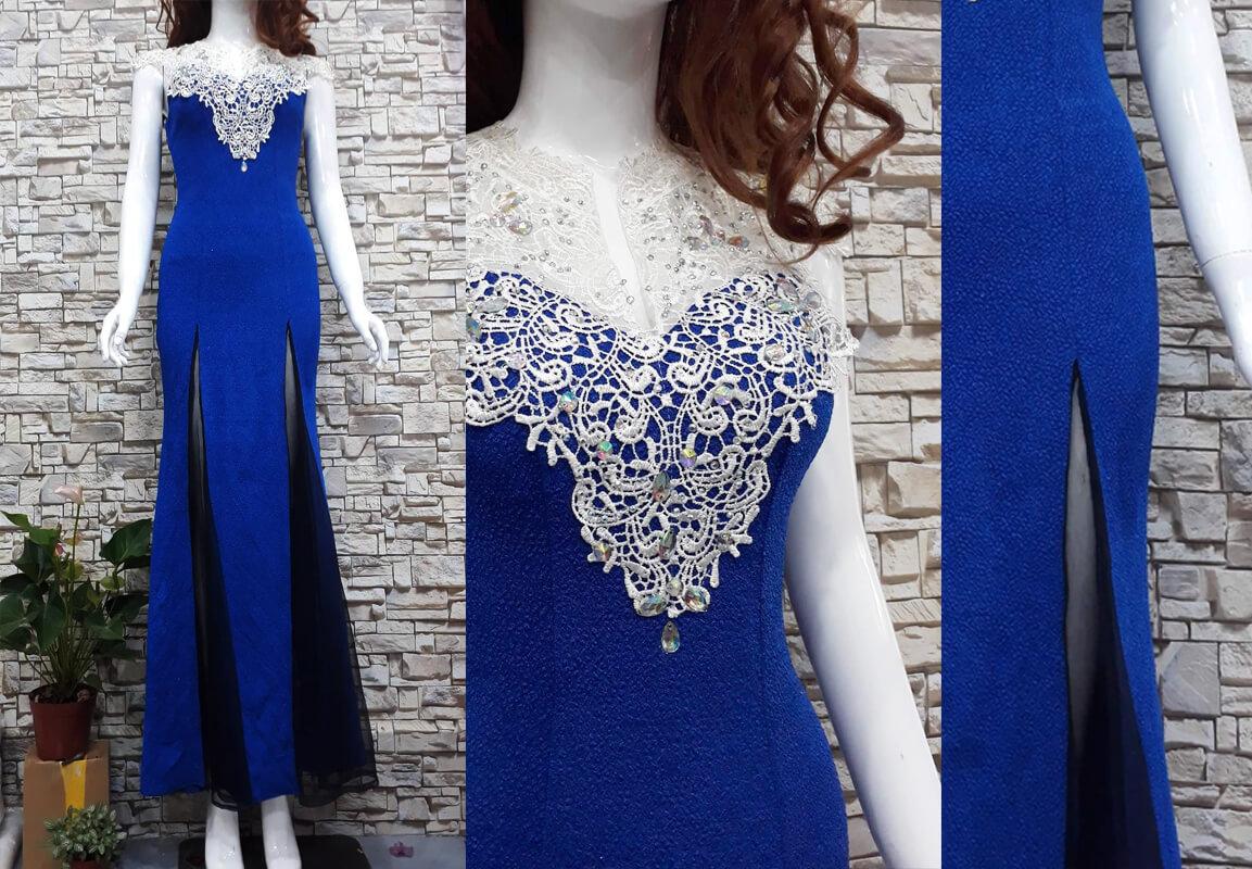 Váy dài dạ hội xanh