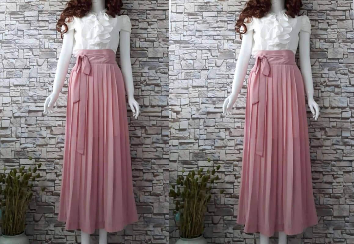 Váy dài hồng cách điệu trắng