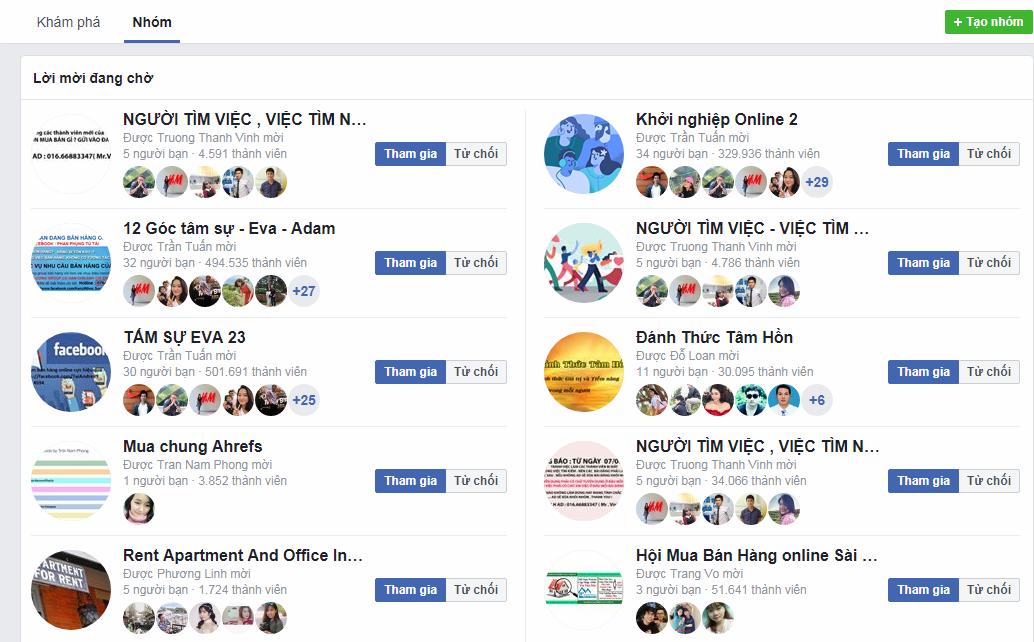 Các nhóm facebook đăng bài thường là miễn phí