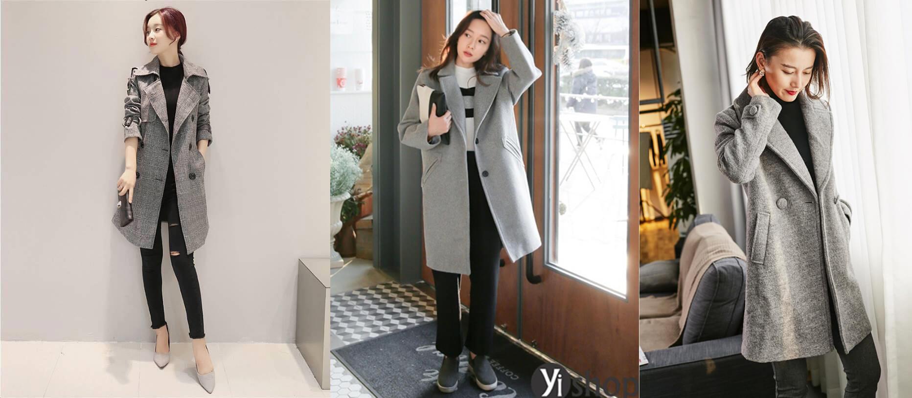 Áo khoác dạ thu đông màu xám