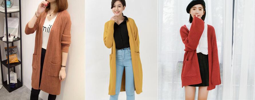 Áo khoác len thu đông nữ dáng dài