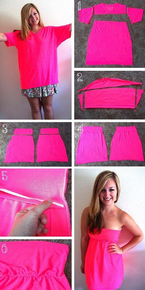 Cách tái chế áo thun thành váy