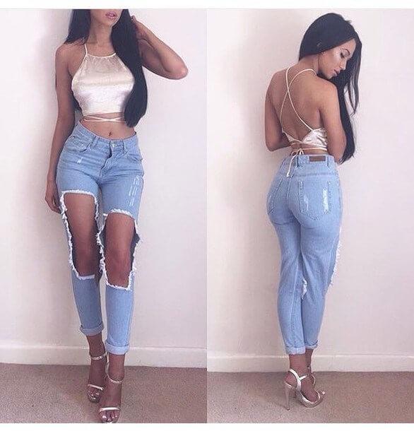 crop top 2 dây jean rách