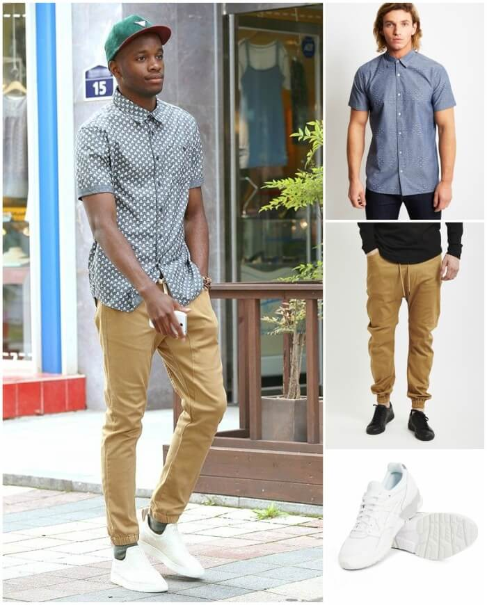 Jogger kaki phối sơ mi (Nguồn hình: Outfit Trends)
