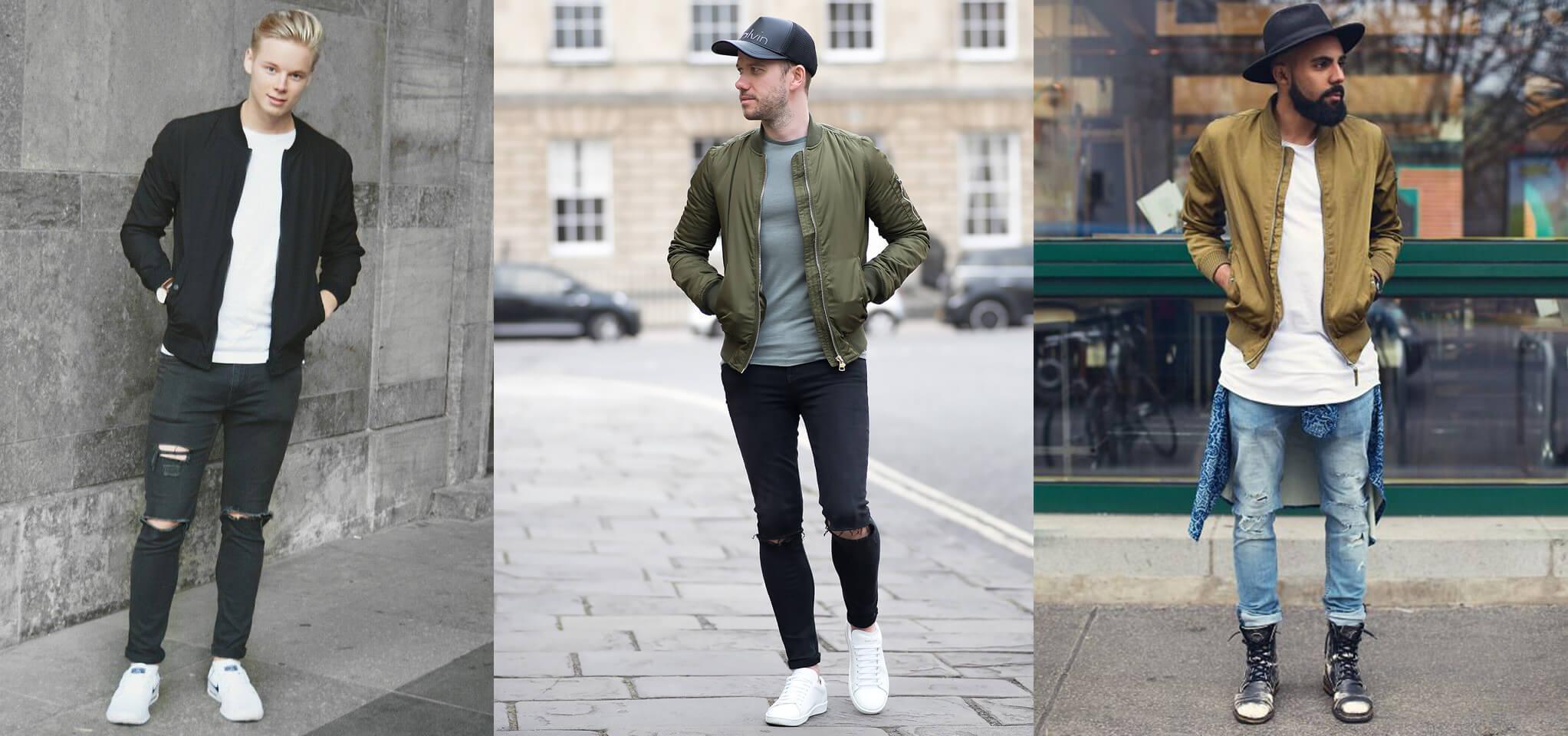 Áo khoác bommer và quần jean rách nam
