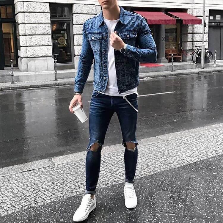Khoác jean phối quần jean