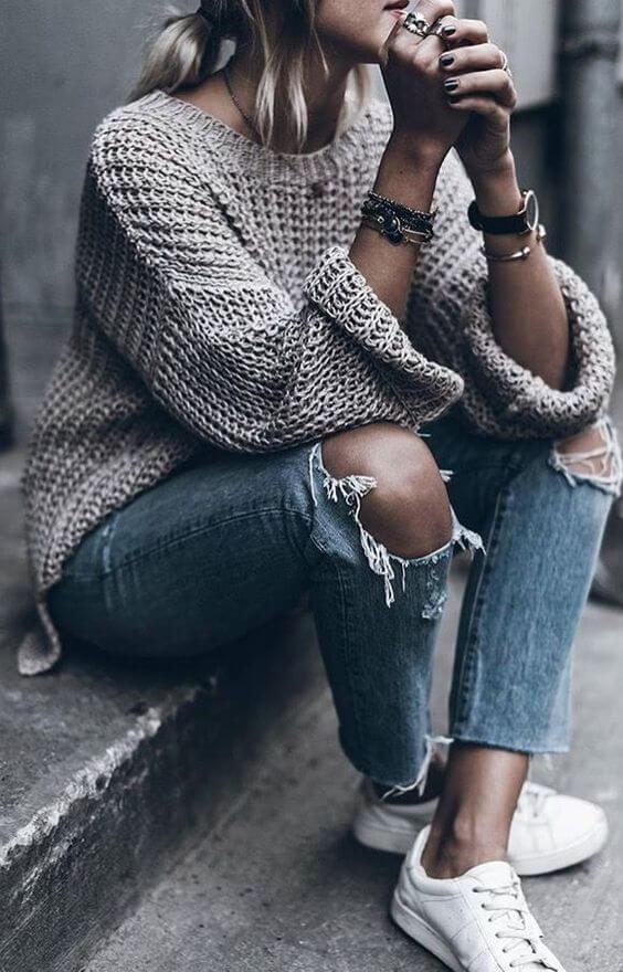 sweater len jean rách nữ