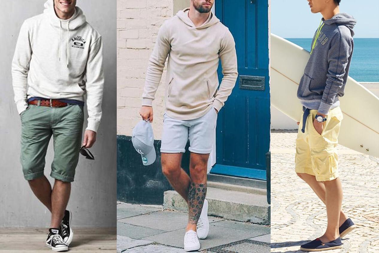 Hoodie nam với quần shorts (Nguồn hình: Pinterest)