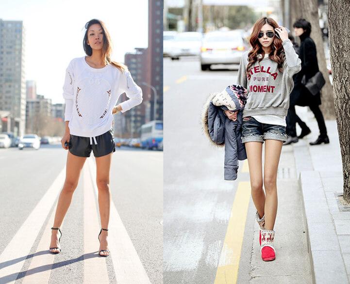 Sweater nữ phối Quần shorts (Nguồn hình: google)