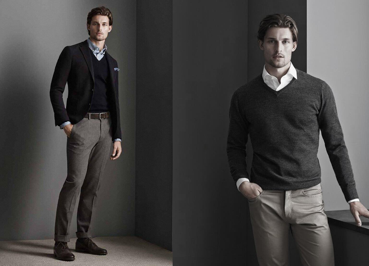 Sweater, sơ mi, cà vạt và quần kaki (Nguồn hình: Next Luxury)