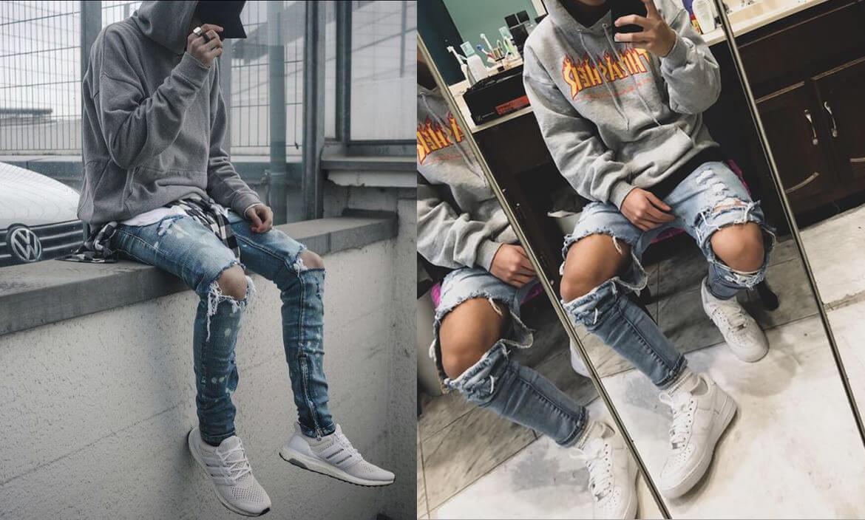 Hoodie phối jeans rách (Nguồn hình: Pinterest)