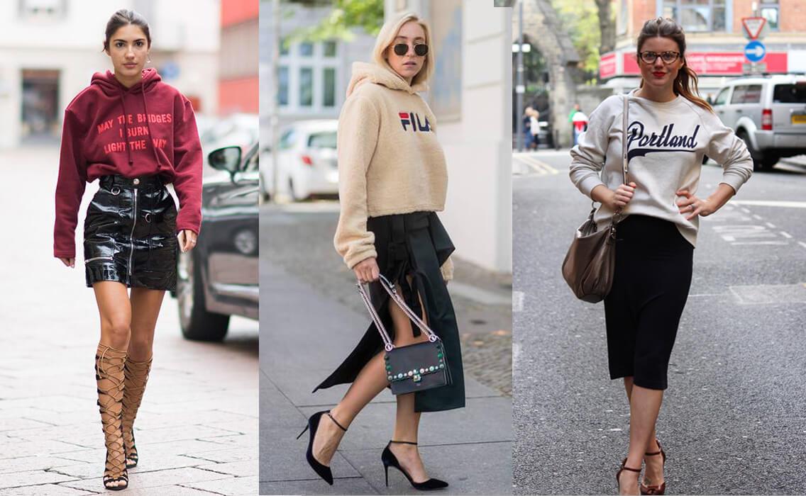 Áo hoodie nữ phối váy (Nguồn hình: Google)