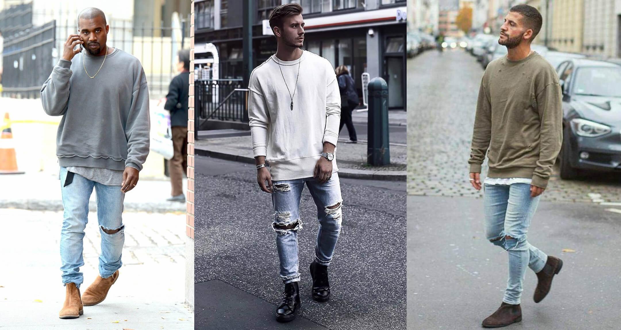 Quần jean rách phối Sweater nam (Nguồn hình: Google)