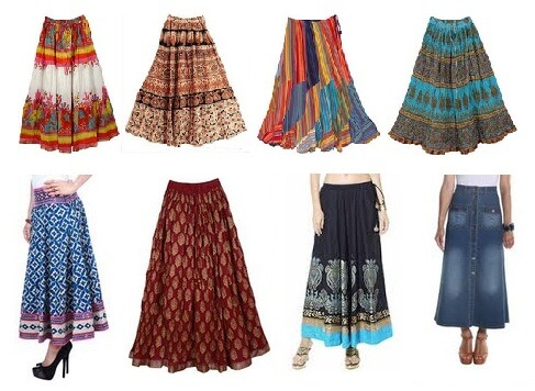 chân váy họa tiết - chân váy dài vintage