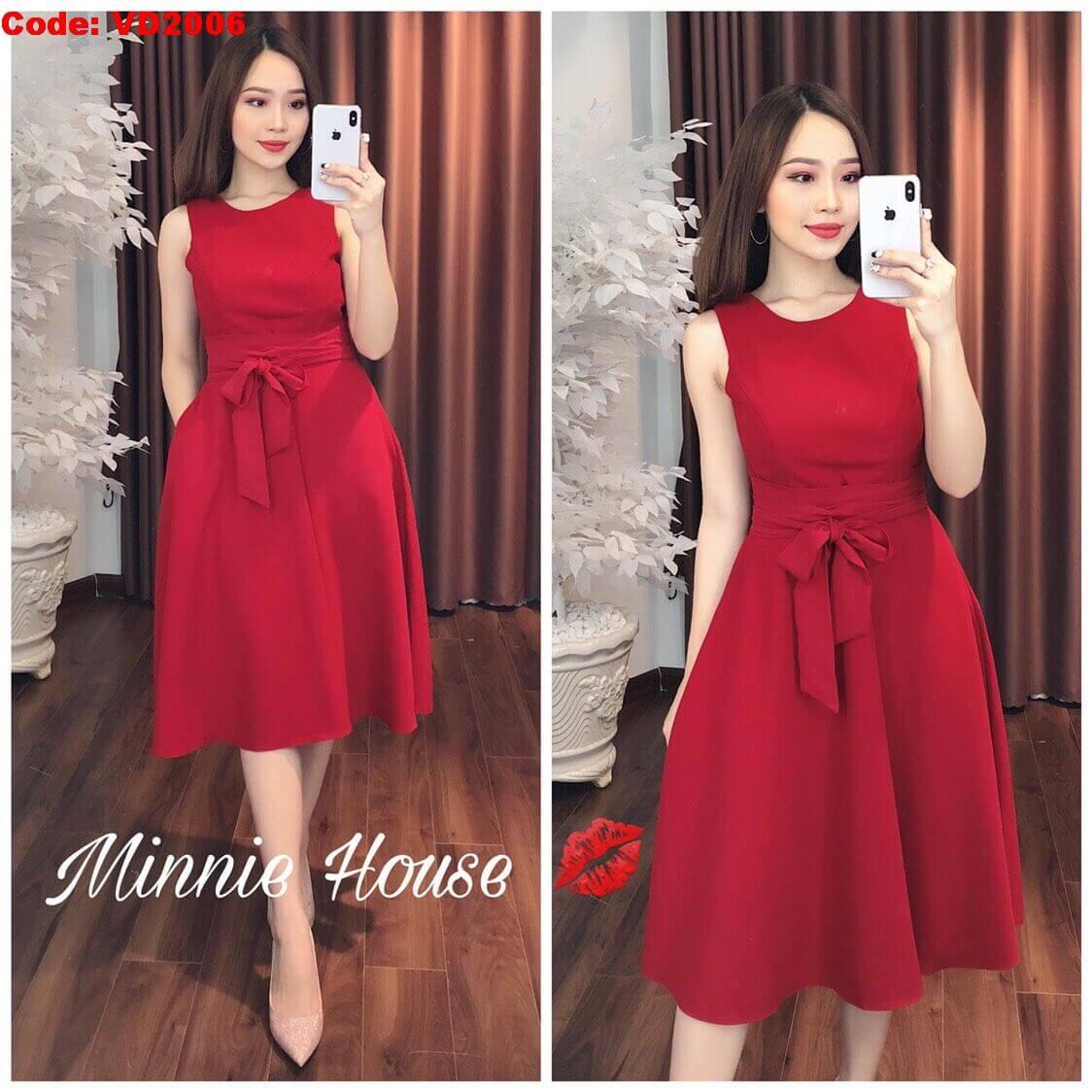 Váy lụa đỏ buộc eo Nguồn hình: Minnie house