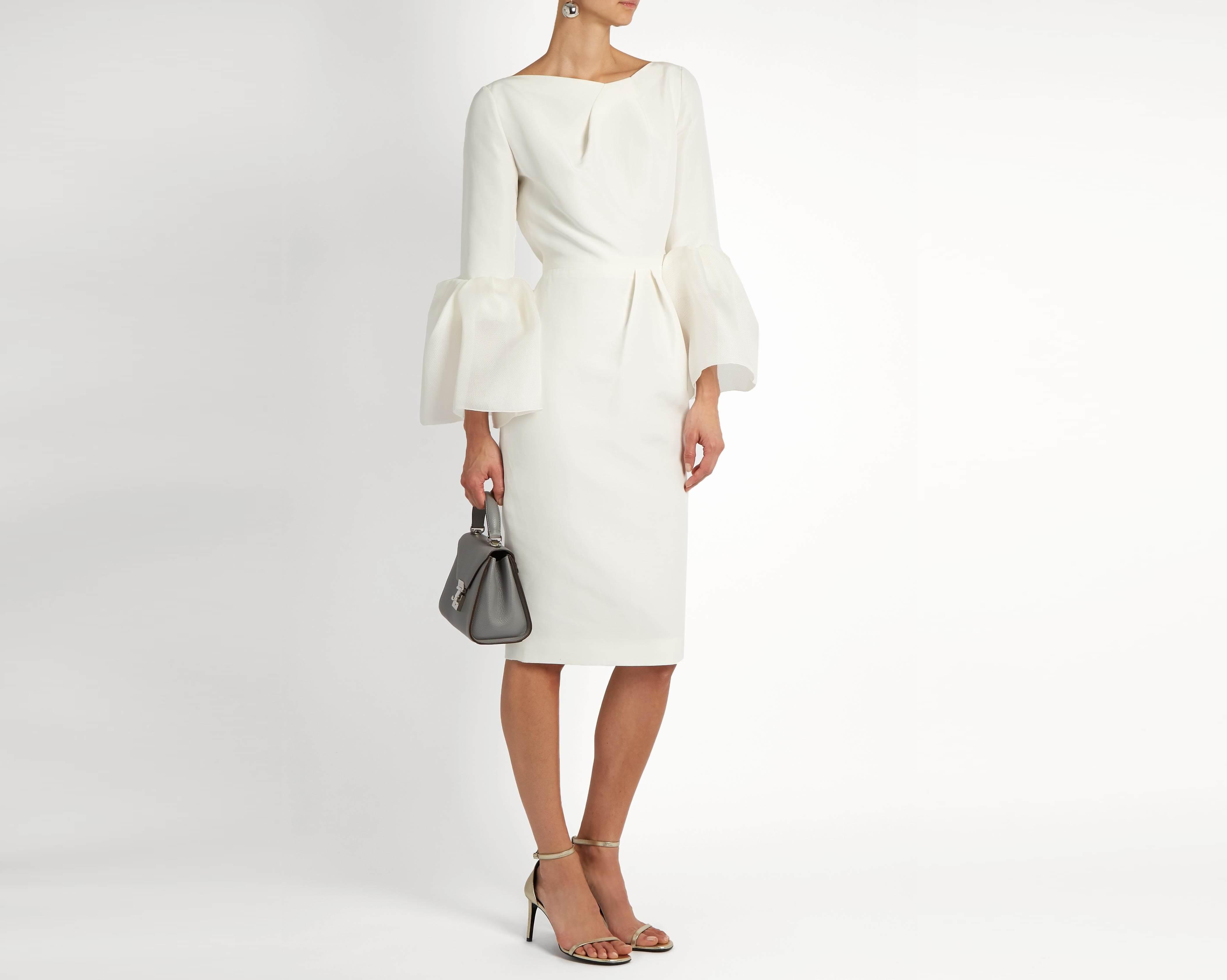 Váy wiggle lụa trắng
