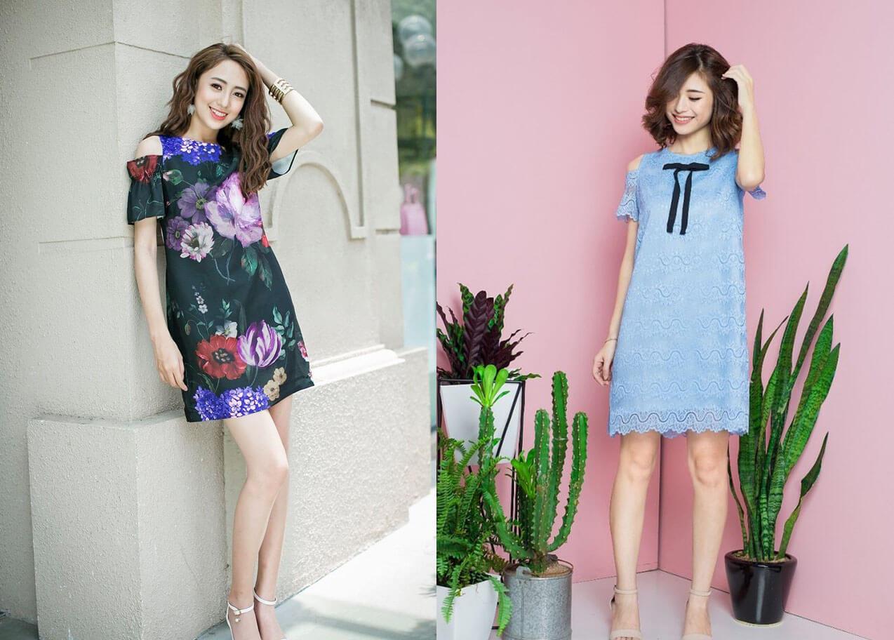 Đầm vintage suông cut-out