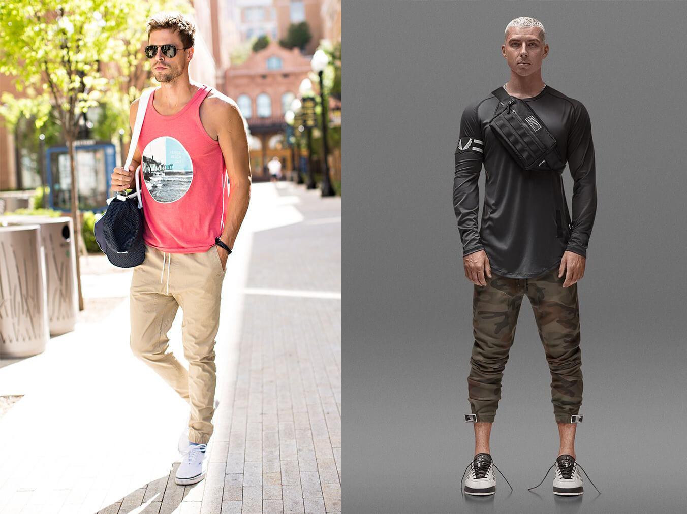 Phối đồ với túi đeo chéo nam cùng quần jogger