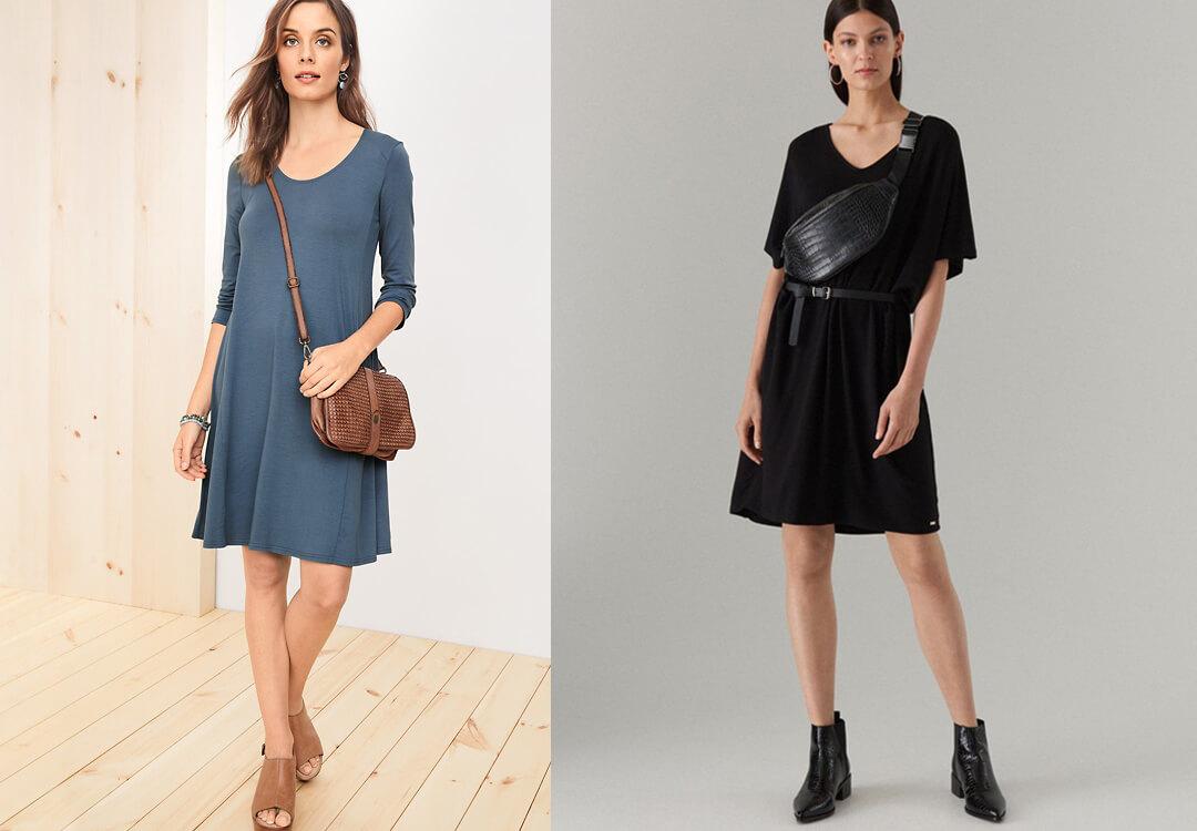 Phối đồ với túi đeo chéo nữ + đầm suông giản dị