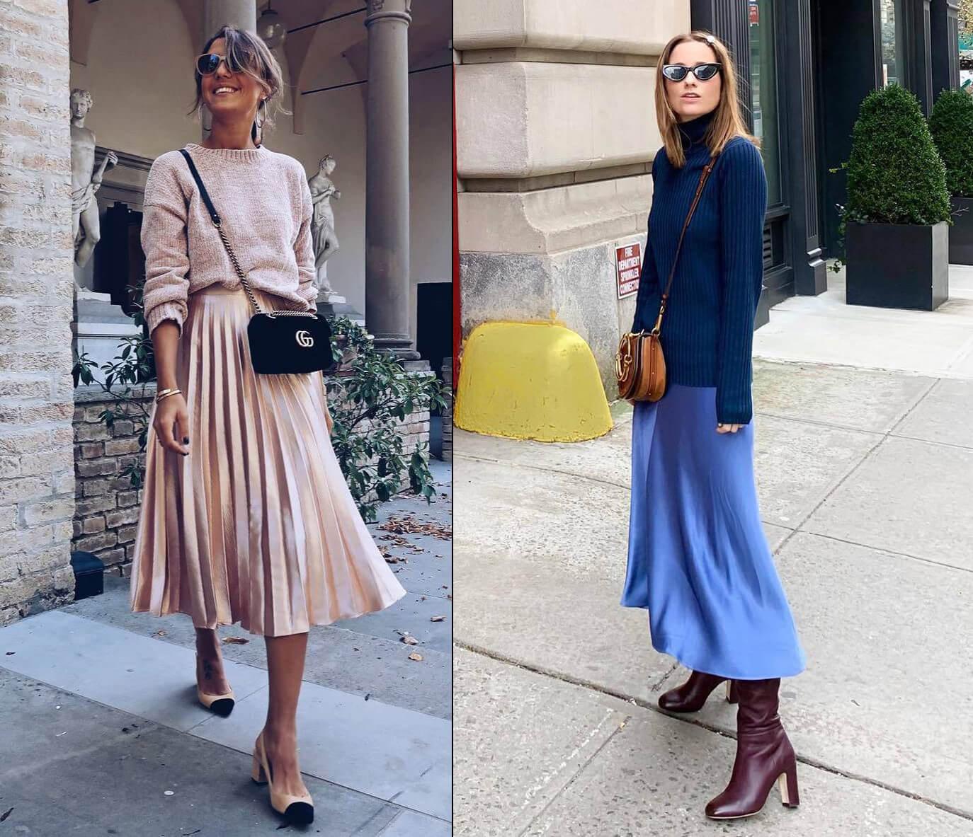 Phối đồ với túi đeo chéo nữ cùng chân váy midi
