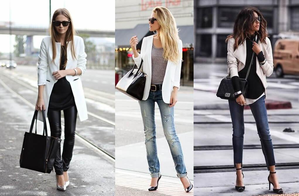 Túi xách đen phối với áo khoác trắng