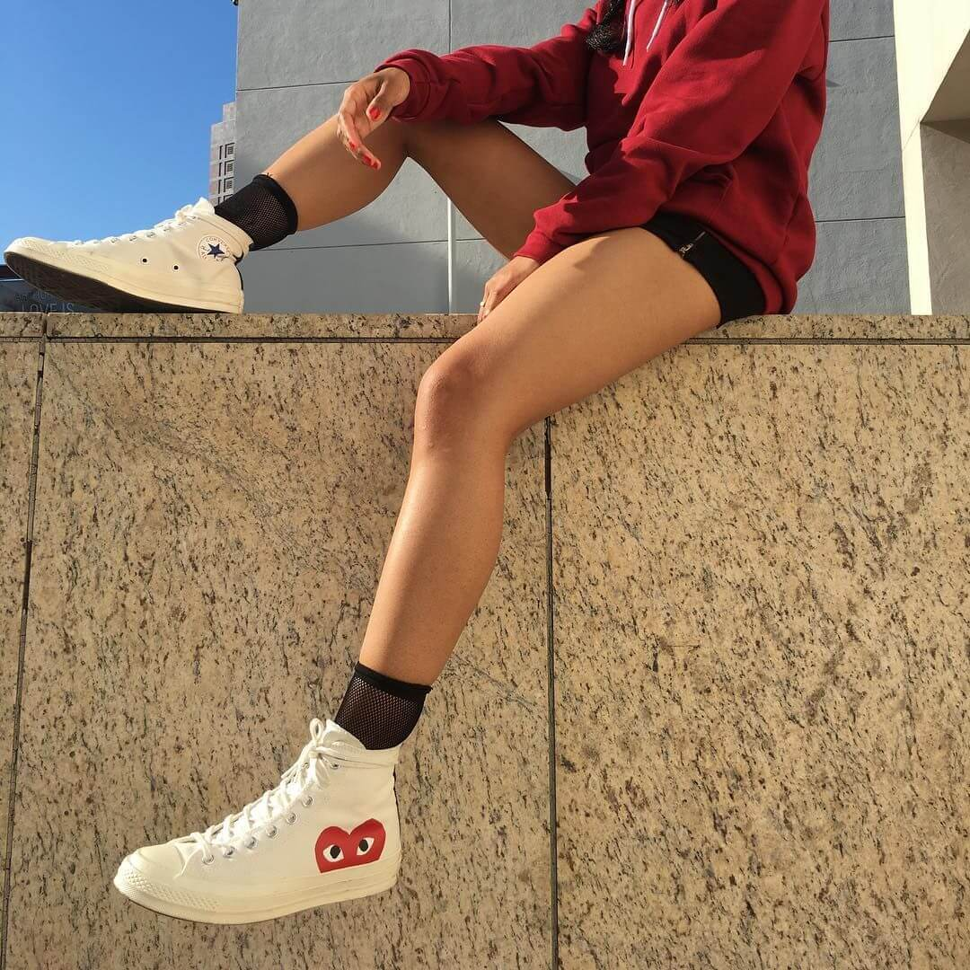 Giày Converse nữ cổ cao Chuck Taylor 70s Hi x COMME màu trắng