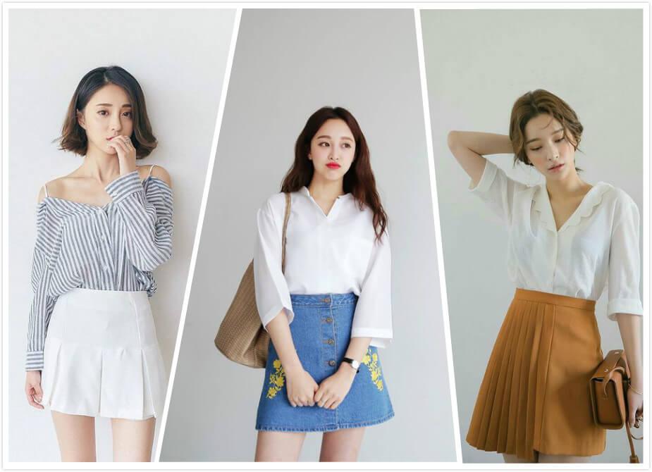 Chân váy phối áo sơ mi nữ Hàn Quốc nữ tính