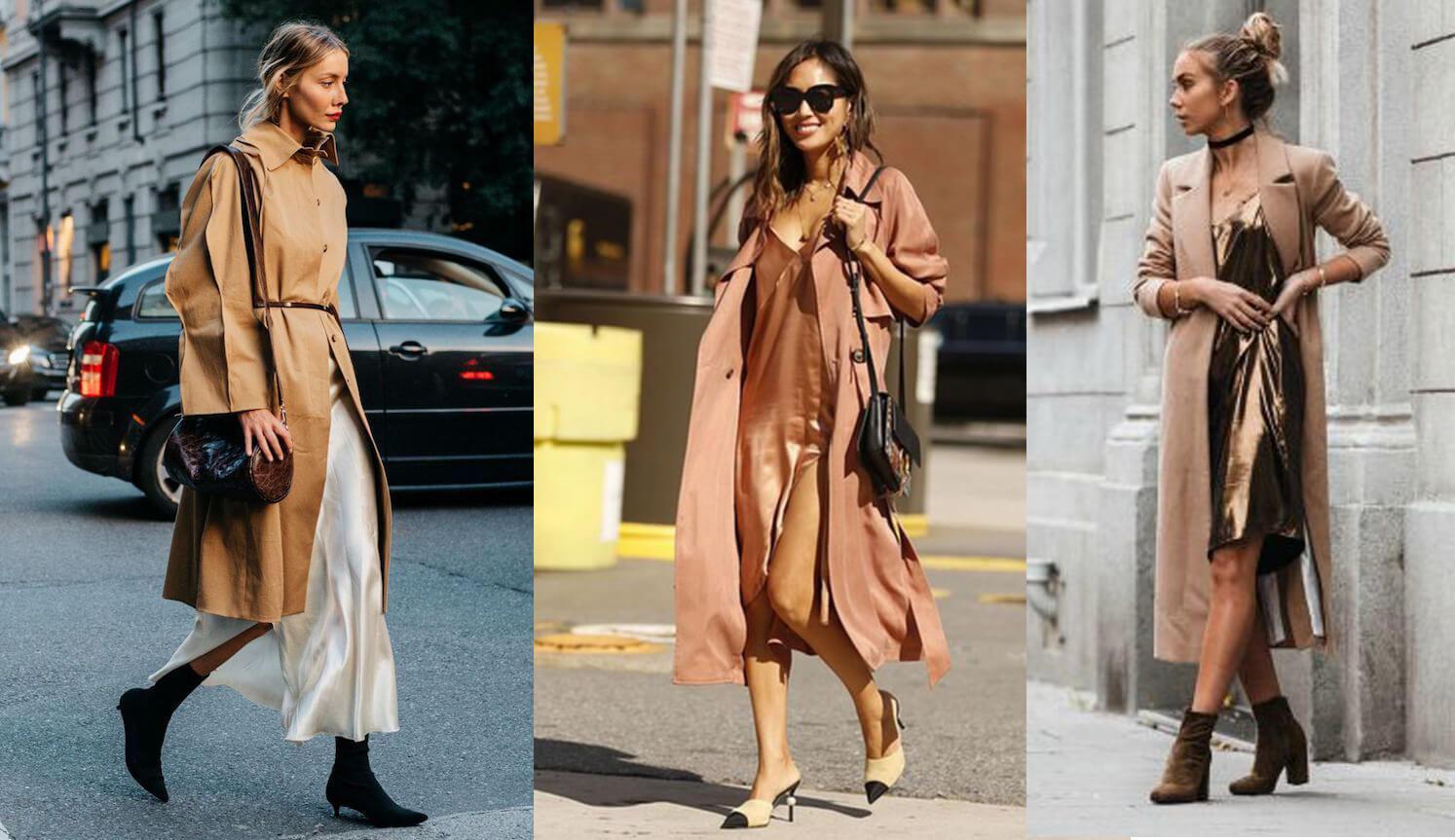 Phối áo khoác với slipdress