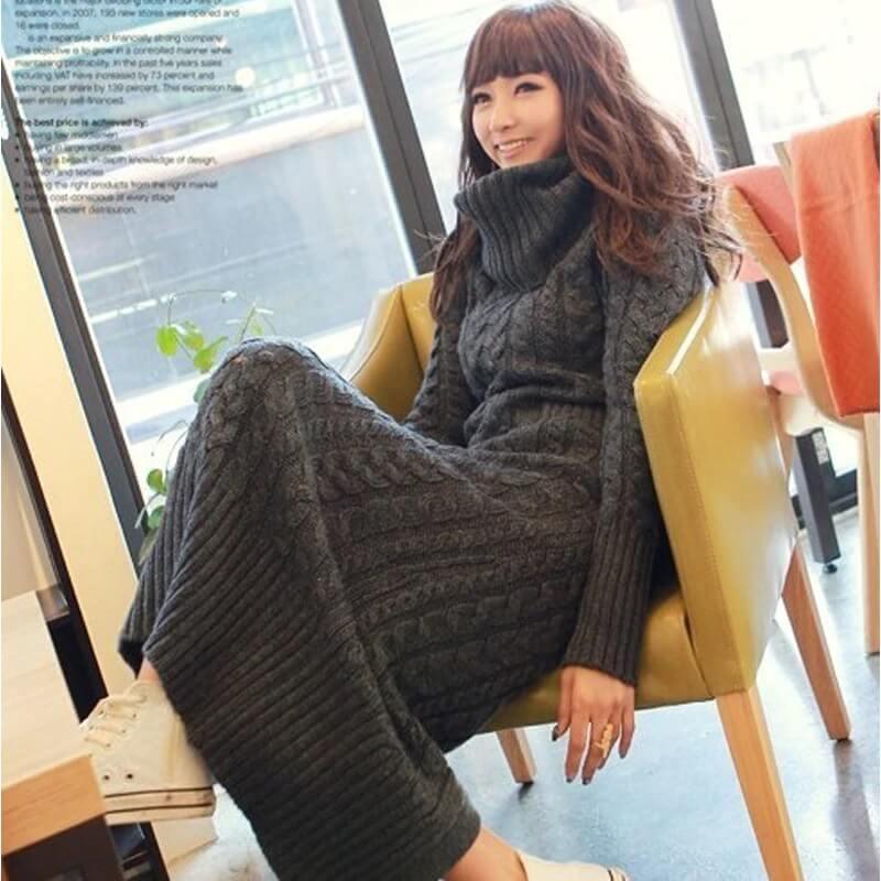Đầm maxi len