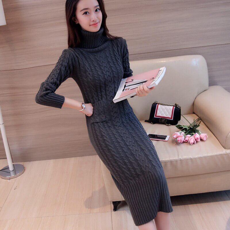 Set đầm len đơn giản cho trang phục mùa đông đẹp
