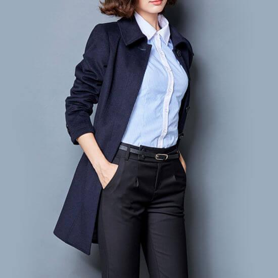 Phối áo sơ mi nữ với khoác dáng dài hàn quốc