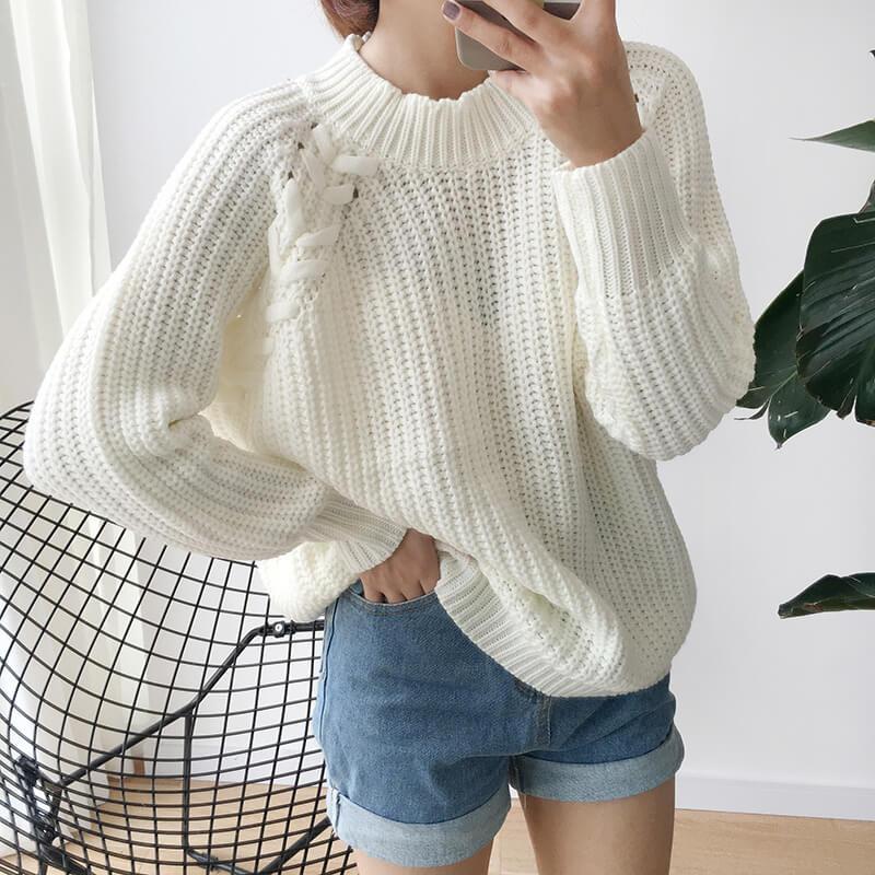Áo len form rộng phối quần short