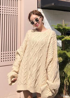 Trang phục mùa đông Hàn Quốc với len form rộng