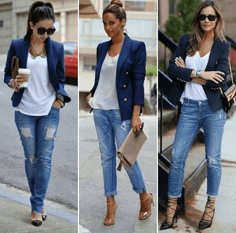 blazer nữ với jeans áo thun