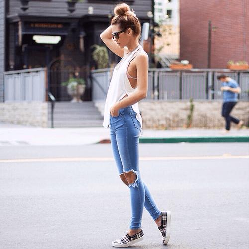Skinny jean phối tanktop nữ