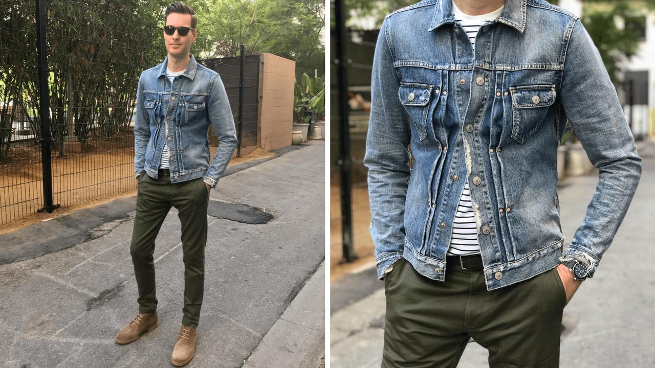 Cách phối đồ với quần chinos cho nam + khoác jeans