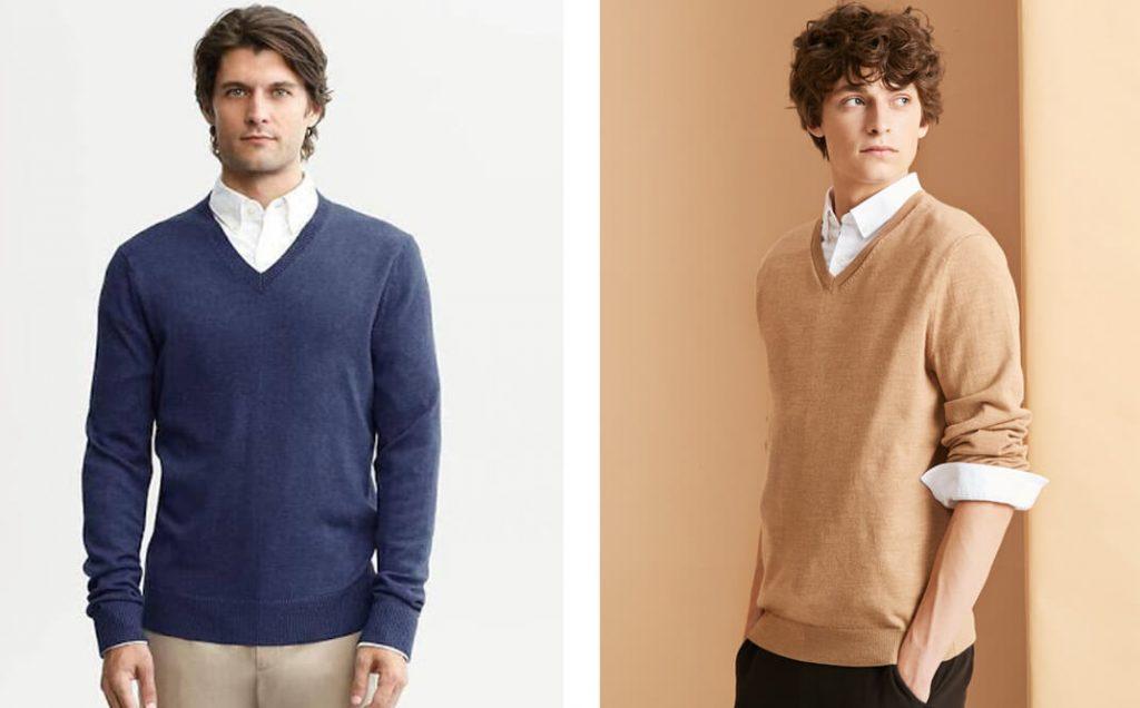Cách phối đồ với áo len cổ chữ V mix với áo sơ mi đơn giản
