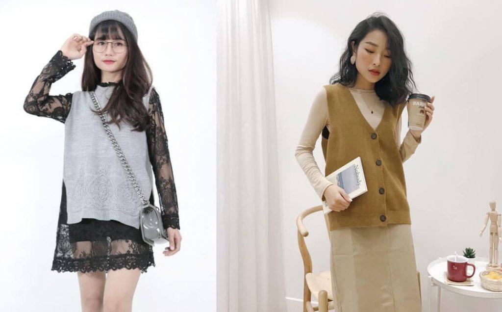 Cách phối đồ với áo len gile nữ mix với váy