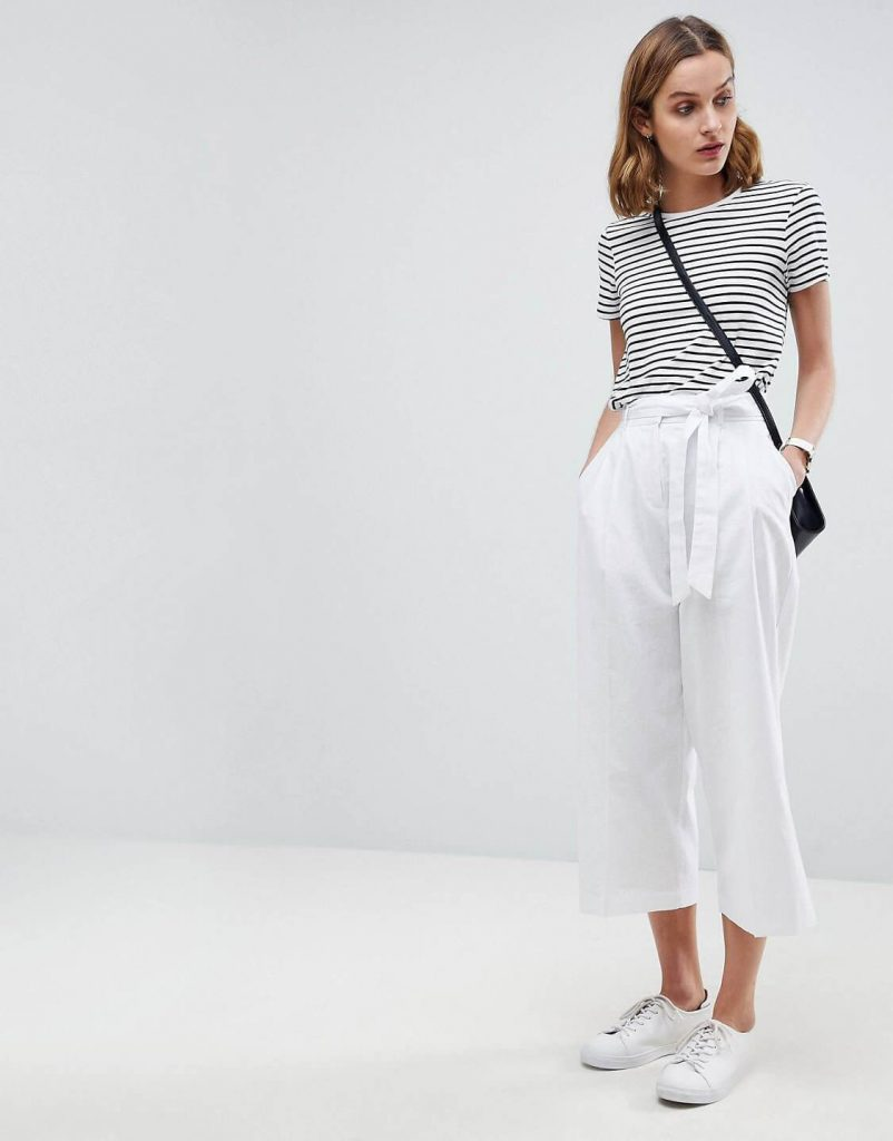Quần culotte trắng | Cách phối đồ cùng với giày thể thao nữ màu trắng