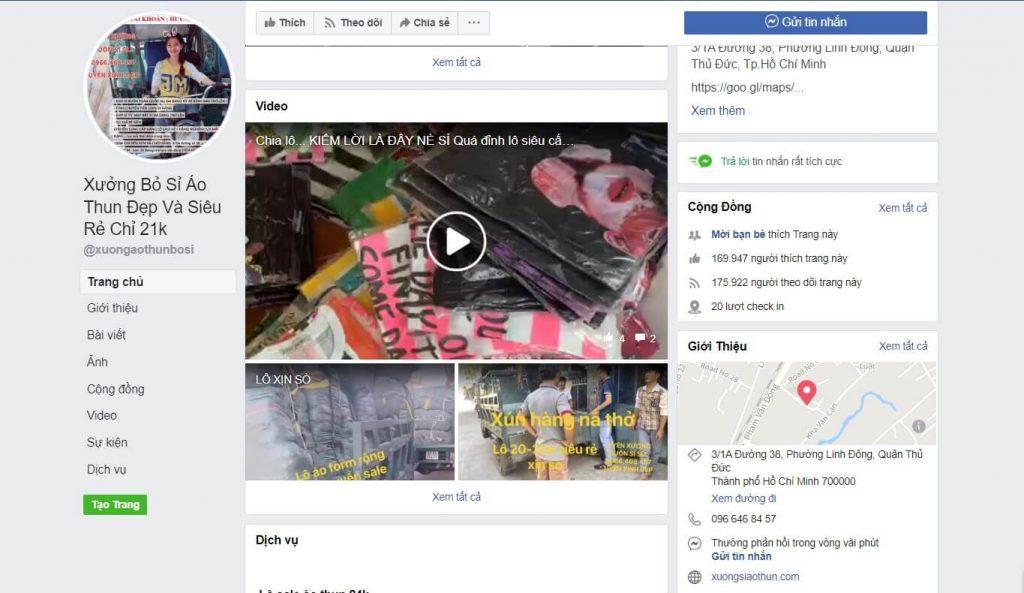 Hình ảnh xưởng lấy sỉ áo thun từ facebook/xuongaothunbosi/