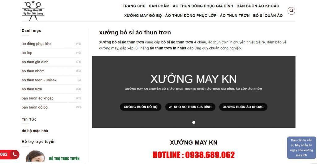 Hình ảnh kho xưởng lấy sỉ áo thun của website xuongmayaothunkn.com