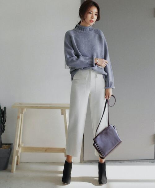Cách phối đồ với Quần ống rộng nữ với áo len mỏng