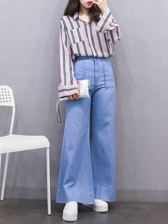Quần culottes jeans với áo sơ mi
