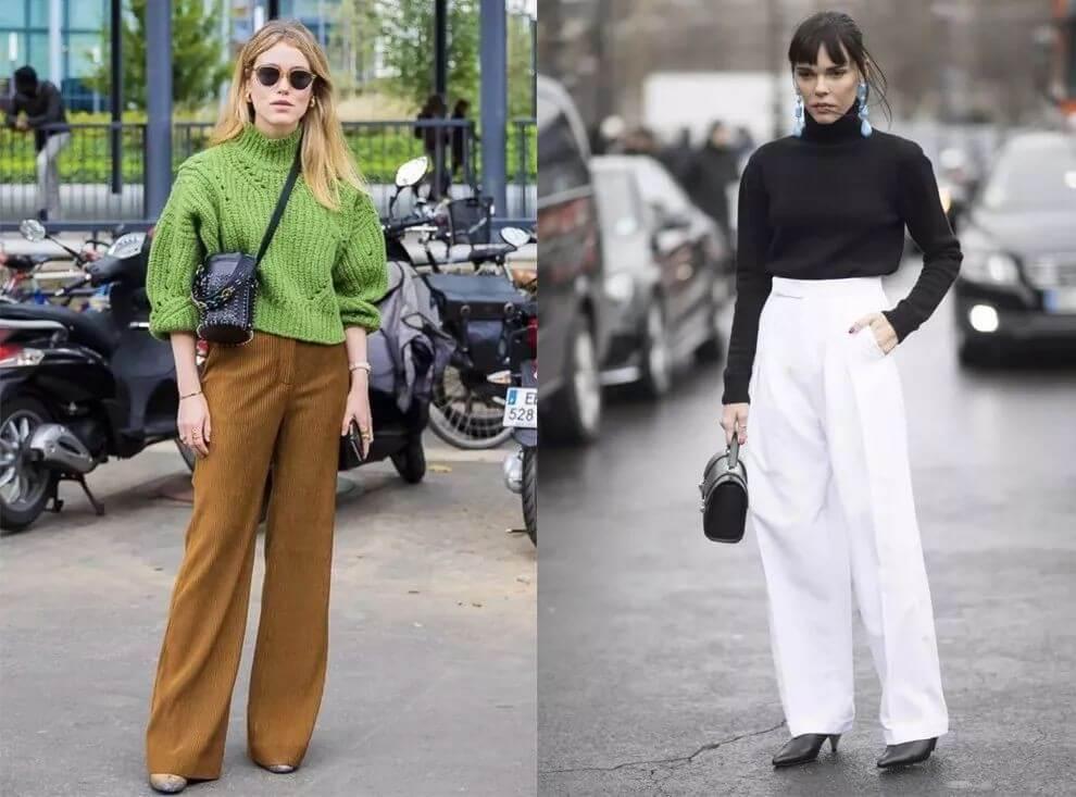 Quần culottes với một chiếc áo len cổ lọ
