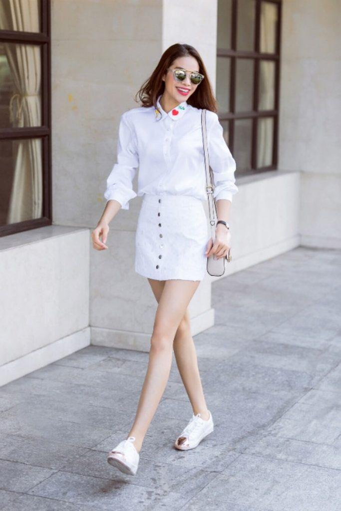 Nữ cao 1m60 nên mặc gì? trang phục đồng màu