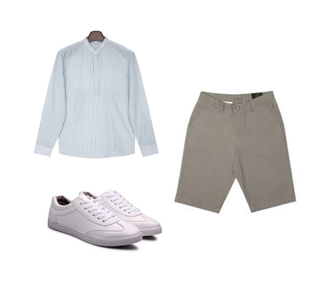 Cách phối đồ cho nam gầy ốm: Áo sơ mi cổ rộng + Quần short kaki sáng màu + giày sneaker đồng màu với áo