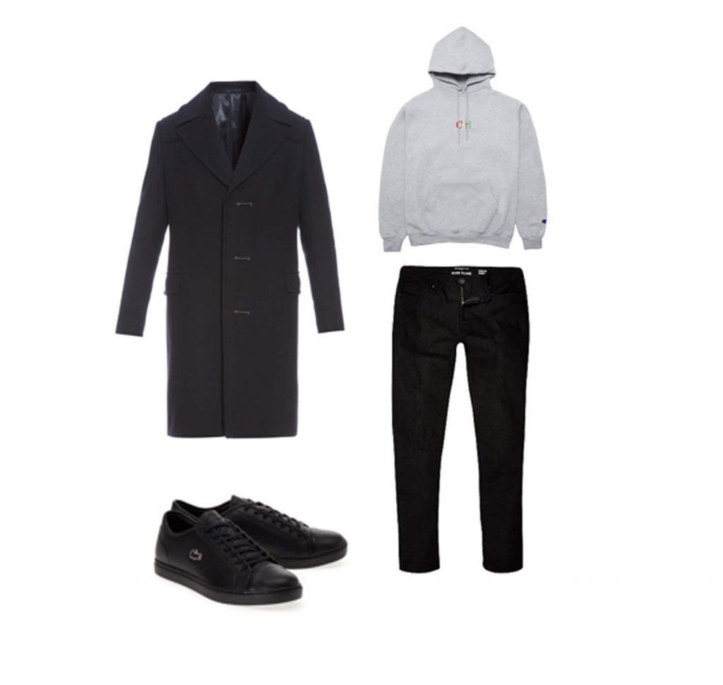 Cách phối đồ cho nam gầy ốm: Áo thun sáng màu/ trung tính + áo khoác dáng dài tối màu + quần tối màu + giày sneaker đồng màu với quần